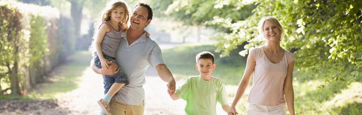 Family Walking in their New Neighborhood